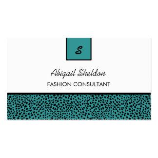 Trendy Monogram Teal and Black Cheetah Print Business Cards