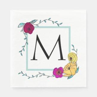 Trendy Monogram Watercolor Summer Floral Wedding Napkin