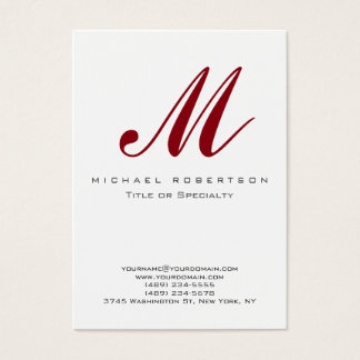 Trendy Monogram White Red Chubby Business Card