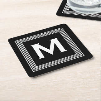 Trendy Monogram with Stripes Black and White A08 Square Paper Coaster