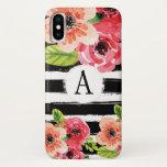 Trendy Monogramed Black White Stripes Flowers iPhone X Case