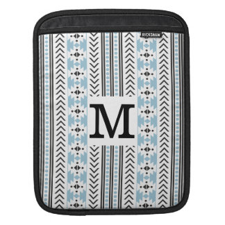 Trendy Monogrammed Aztec Tribal Pattern(Blue) Sleeve For iPads