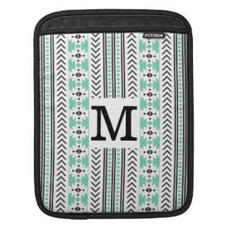 Trendy Monogrammed Aztec Tribal Pattern(Green) iPad Sleeve