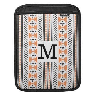 Trendy Monogrammed Aztec Tribal Pattern(Orange) Sleeve For iPads