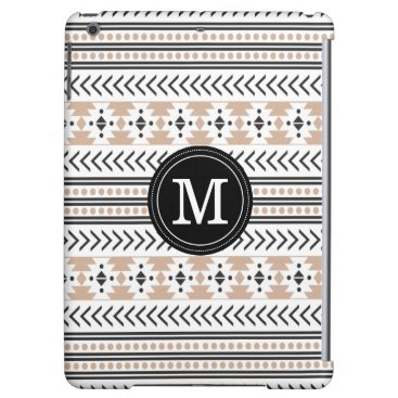 Aztec Themed Trendy Monogrammed Aztec Tribal Pattern (Tan) iPad Air Covers