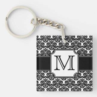 Trendy Monogrammed Damask Keychain