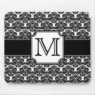 Trendy Monogrammed Damask Mousepad