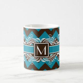Trendy Monogrammed Geometric Chevron Pattern Classic White Coffee Mug
