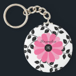 "Trendy Monogrammed Pink And Black Flower With Name Keychain<br><div class=""desc"">A cute and trendy monogram keychain with a girly pink and black daisy flower and wreath pattern leaves. Personalize this chic and stylish keyring by adding your name and monogrammed initials.</div>"