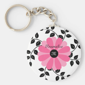 Trendy Monogrammed Pink And Black Flower With Name Keychain