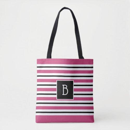 Trendy Monogrammed Pink Black  White Stripe Tote Bag