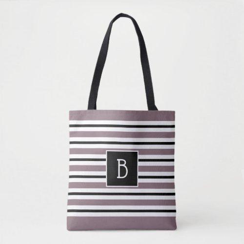 Trendy Monogrammed Purple Black  White Stripe Tote Bag