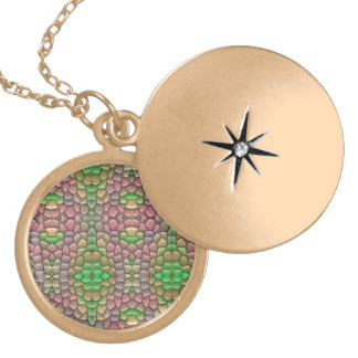 Trendy mosaic tile round locket necklace
