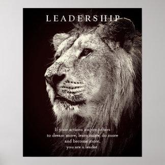 Trendy Motivational Leadership Lion Brown Poster