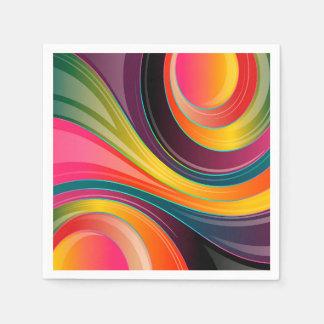 Trendy Multi Color Abstract Whirl Design Napkin
