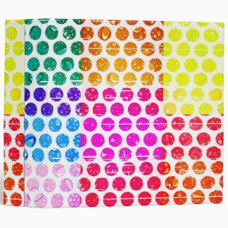 trendy multi color girly polka dot grunge hipster 3 ring binder