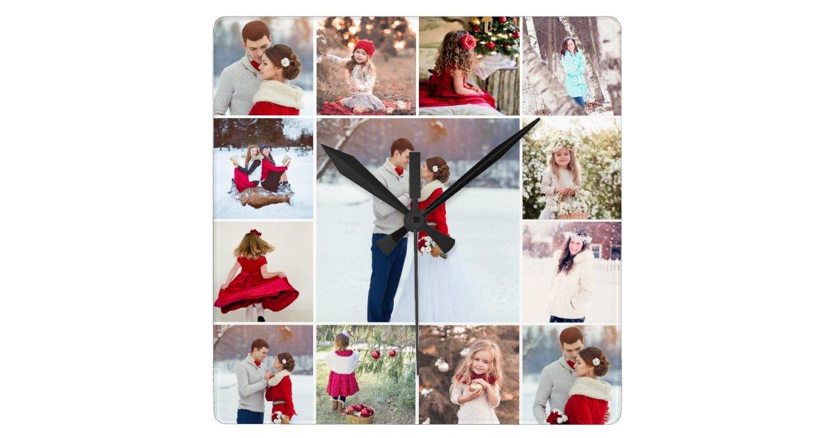 Trendy Multi Photo Collage Wall Clock Zazzle