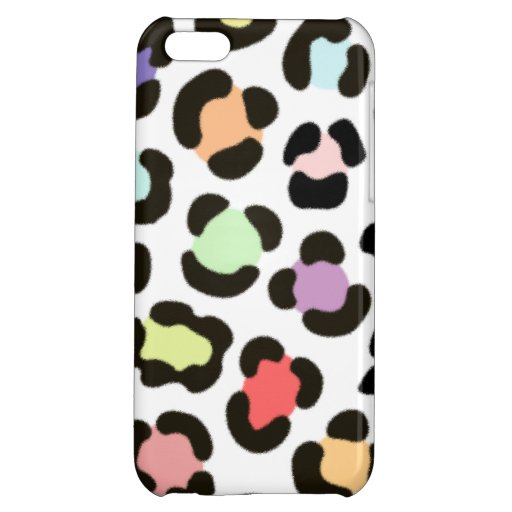 Trendy Multicolored Large Leopard Print Fur Effect Case For iPhone 5C