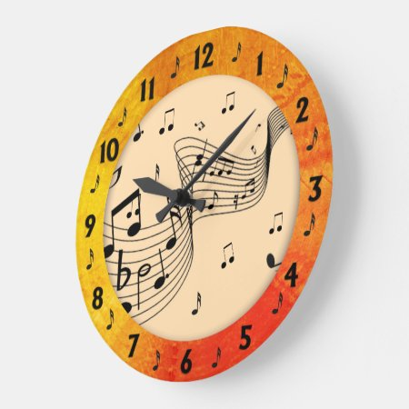 Trendy Music Tangerine Round Wall Large Clock