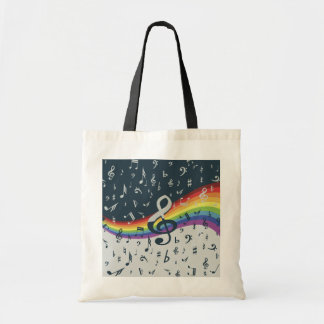 Trendy musical notes on rainbow bags