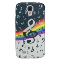 Trendy musical notes on rainbow galaxy s4 cases