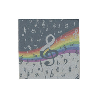 Trendy musical notes on rainbow stone magnet