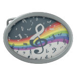 Trendy musical notes on rainbow oval belt buckle