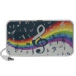 Trendy musical notes on rainbow PC speakers