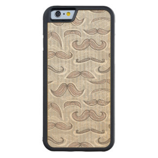 Trendy Mustache Pattern Carved Maple iPhone 6 Bumper Case
