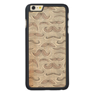 Trendy Mustache Pattern Carved Maple iPhone 6 Plus Case