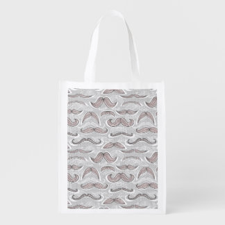 Trendy Mustache Pattern Reusable Grocery Bag