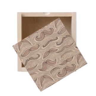 Trendy Mustache Pattern Wooden Keepsake Box