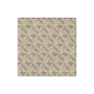 Trendy Muted Colors Leafy Pattern Mustard Purple Stone Magnet