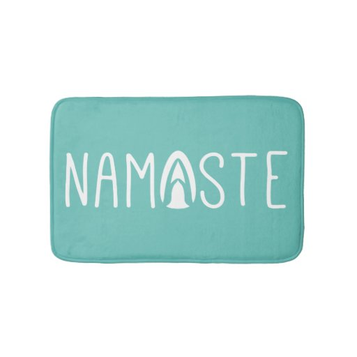 Trendy Namaste Yoga Green And White Bathroom Mat Zazzle