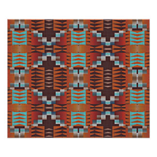 Trendy Native American Indian Tribal Pattern Poster