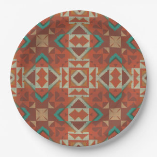 Trendy Native American Indian Tribe Mosaic Pattern 9 Inch Paper Plate