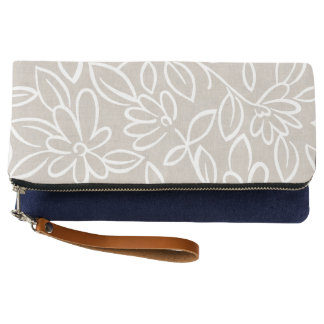 Trendy Natural White floral doodle Clutch