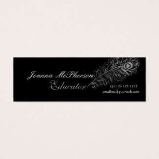 Trendy Nature Plumes Peacock Feather Gray Mini Business Card