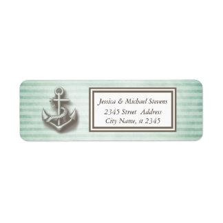 Trendy nautical anchor vintage narrow stripes return address label
