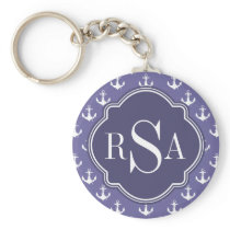 Trendy Nautical Monogrammed Purple Anchor Pattern Keychain