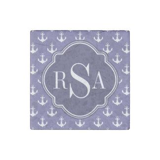Trendy Nautical Monogrammed Purple Anchor Pattern Stone Magnet