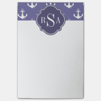 Trendy Nautical Monogrammed Purple Anchor Pattern Post-it® Notes
