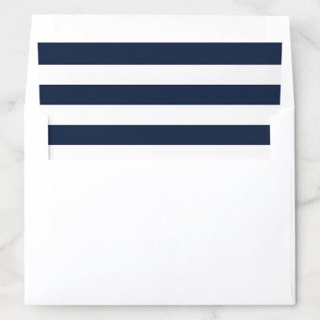 Trendy Nautical Navy Blue & White Stripe Wedding Envelope Liner