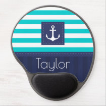 Trendy Nautical Striped Pattern Personalized Gel Mouse Pad