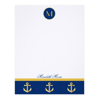 Trendy Navy and Gold Anchors Design Letterhead