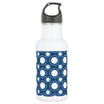 Trendy Navy Blue Polka Dots Pattern Stainless Steel Water Bottle