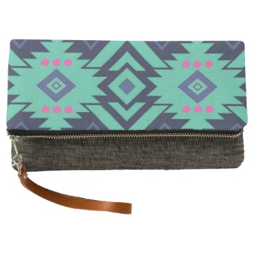 Aztec Themed Trendy Navy Blue Turquoise Pink Aztec Tribal Clutch