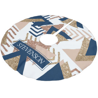 Trendy Navy Blush Rose Gold Abstract Family Name Brushed Polyester Tree Skirt