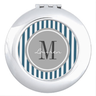 Trendy Navy Stripes Personalized Compact Mirror