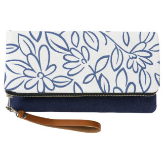 Trendy Navy White floral doodle Clutch